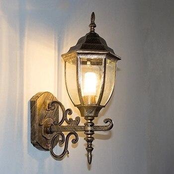 American creative personality LED glass  outdoor wall lamp patio balcony corridor European retro LED waterproof gold wall lamp