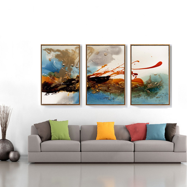 Modern abstract clouds canvas painting multi colors posters prints large wall art pictures for living room