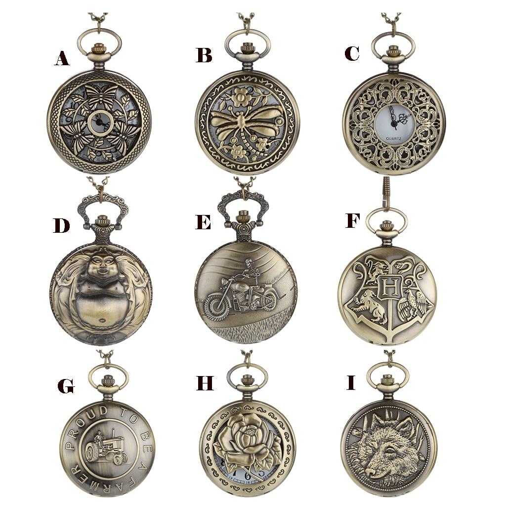 Personalized Pattern Steampunk Vintage Quartz Roman Numerals Pocket Watch Man Woman Kid Gift Necklace Clock Couple Old Man Watch