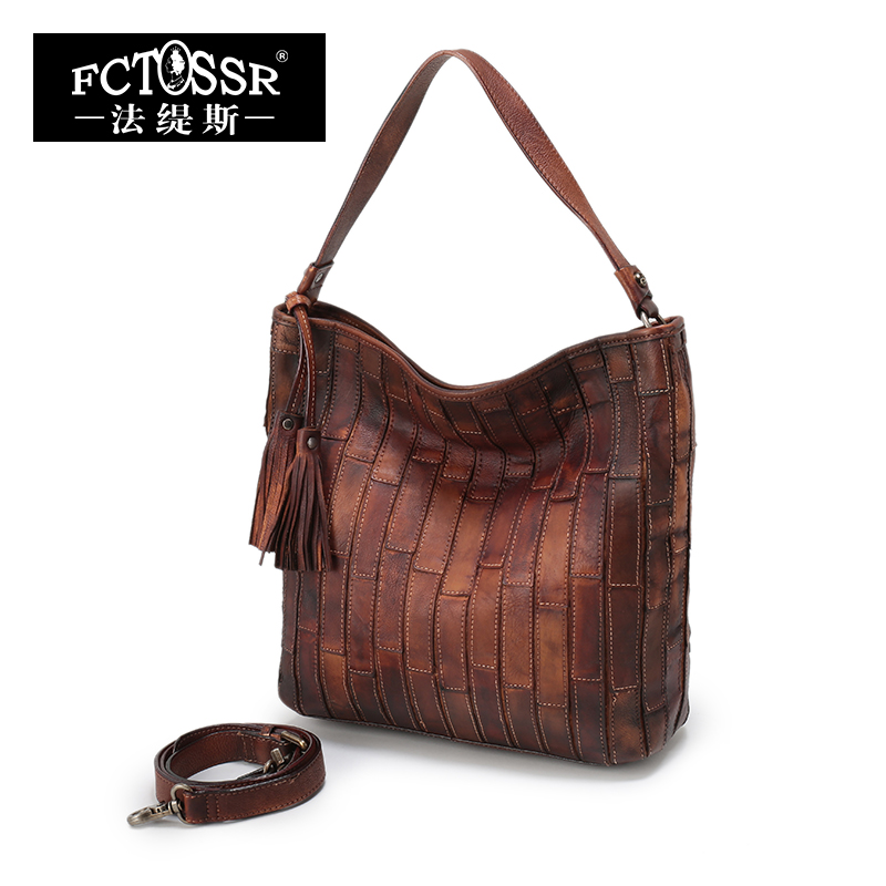 New Genuine Leather Vintage Shoulder Bags Leisure Women Tote High Capacity Women Handbag The First Layer Leather Female Handbags 2017 autumn and winter new genuine leather women handbags crocodile grain first layer of cowhide female shoulder messenger bags