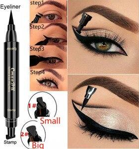 Image 2 - Große/Kleine Eyeliner Stempel Kosmetik Flüssigkeit Wasserdicht Eye Liner Stift Eyeliner mit Marker Pfeile Schablone Liner Bleistift für Augen
