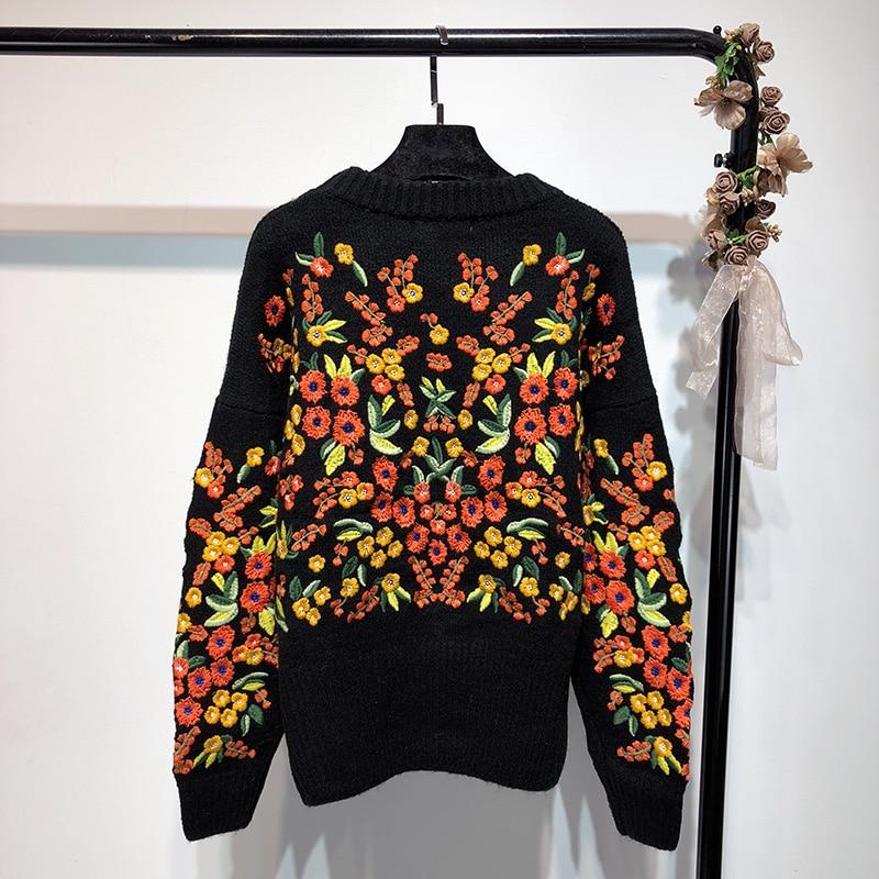 Otoño Jumper Bordado Invierno Moda Jerseys Mujeres Streetwear Y 1678 Suéter  Florales Negro 2018 p5q6x6 1e7d911a74f5