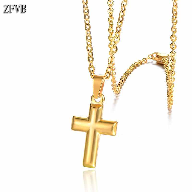 ZFVB Fashion Cross Necklaces for Women Stainless Steel Gold Silver color Clavicle Chain Necklaces & Pendants Religious Jewelry