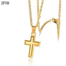 ZFVB Fashion Cross Necklaces for Women Stainless Steel Gold Silver color Clavicle Chain & Pendants Religious Jewelry