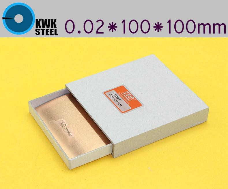 Copper Strips 0.02mm * 100mm *100mm Pure Cu Sheet  Plate High Precision 10pc Pure Copper Made In Germany