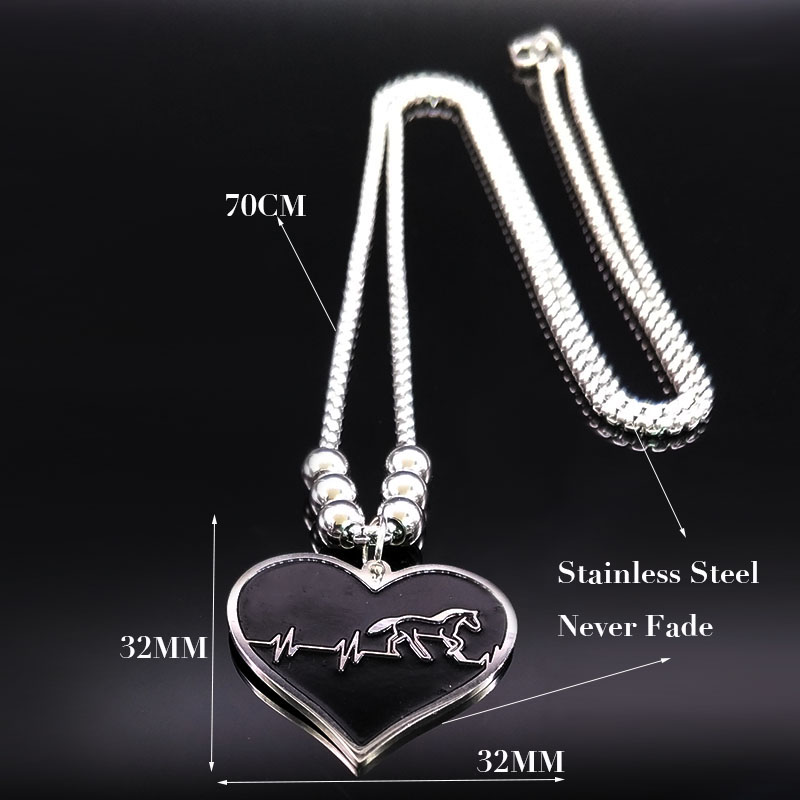 Stainless Steel Horse Heartbeat Necklace for Women