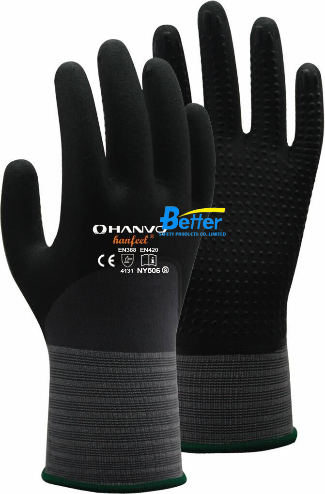 Work Glove 60 Pairs 15 Gauge Nylon Spandex With Nitrile Foam 3/4 Dipped Safety Glove