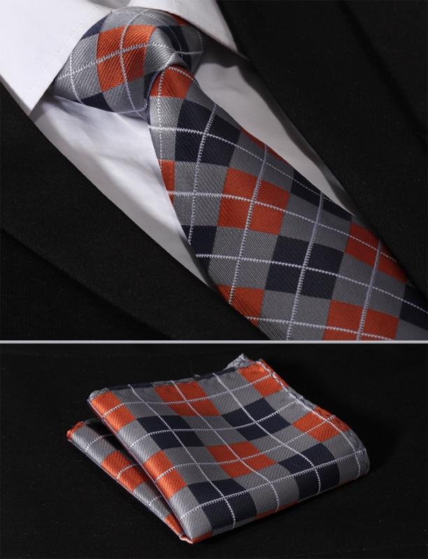 Orange Red Checks Silk Tie Set Mens Necktie Pocket Square Cufflinks Wedding