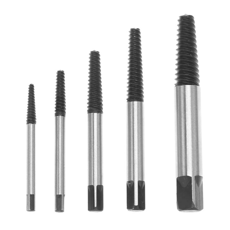 5pcs Broken Screw Extractor Drill Bits Remove Tool Damaged Rusted Stripped Removing Damaged Bolts Studs Metal Drilling