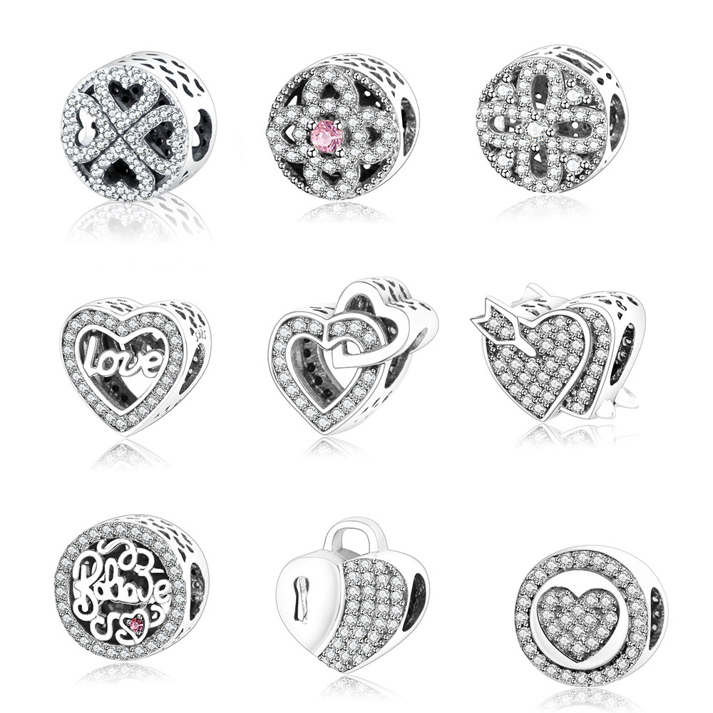 Fits Original Pandora Charm Bracelet 925 Sterling Silver Charms Beads Valentines Day Gift Hollow Petals Of Love DIY Berloque