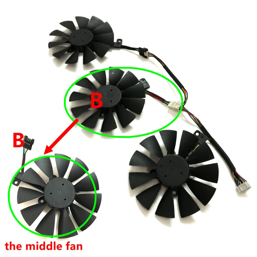 gtx1080 gtx980ti gtx1060 gtx1070 GPU VGA Graphics Cooler Fan For ASUS STRIX GTX 1070 1080 980Ti 1060 Video Cards Cooling System in Fans Cooling from Computer Office