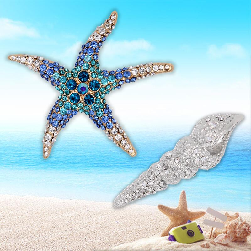 Lifelike Crystal Rhinestone Starfish Brooch Pin Animal font b Women b font Fashion Jewelry font b