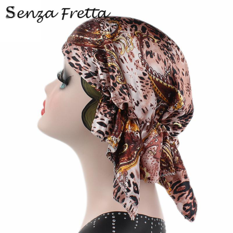 Beautiful Women Satin Stretch Turban Hat Chemo Hair Loss Bonnet Cap Head Wrap Cover metting joura vintage bohemian green mixed color flower satin cross ethnic fabric elastic turban headband hair accessories