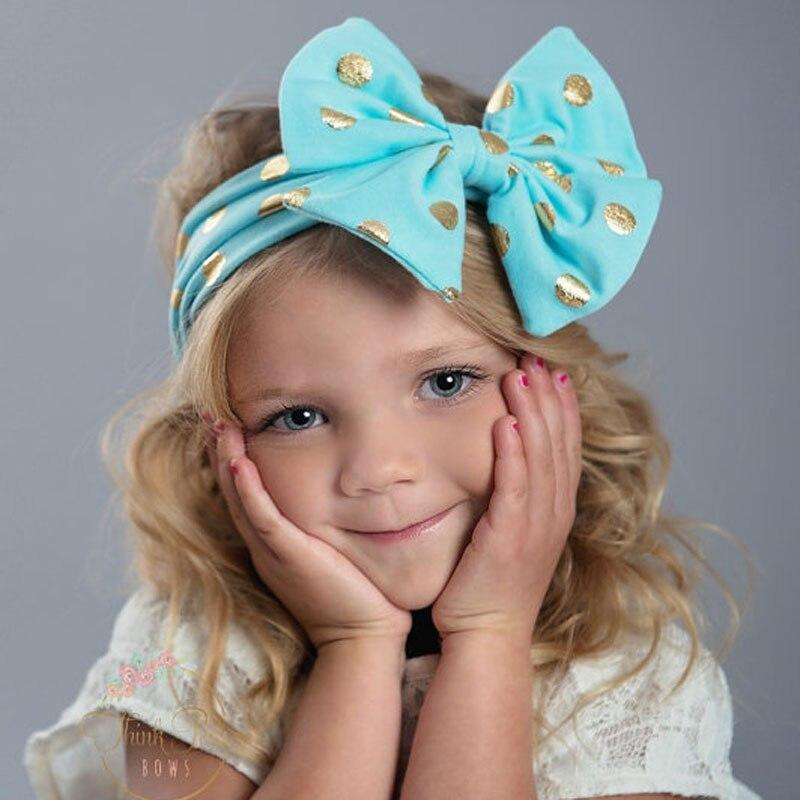 1ks Bronzing Dot Girls Bow čelenky Bavlněná tkanina tkanina do vlasů Pro vlasové doplňky Bebe Fashion warm Boho Turband Kids