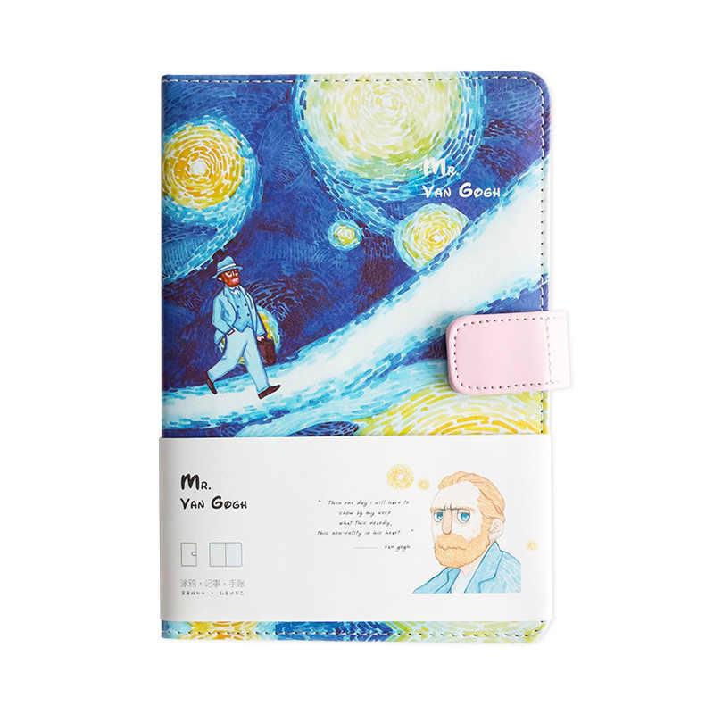 A5 Van Gogh Cute Leather Pocket Bullet Journal Planner Filofax