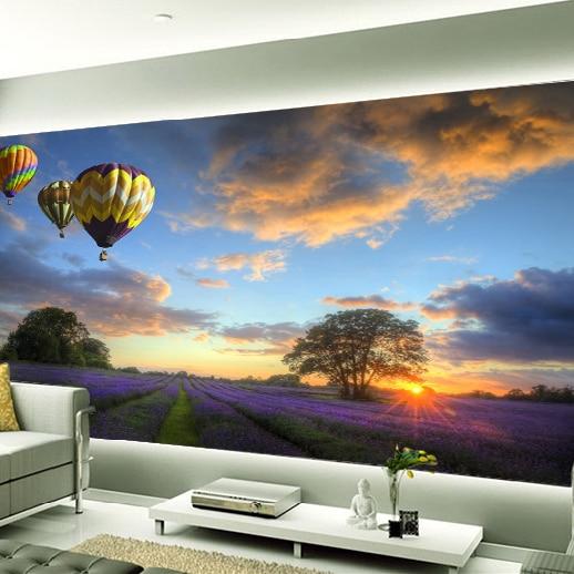 Delightful 3D Lavender Mural Wallpaper Hot Air Balloon Full Wall Murals Print Decals  Home Decor Photo Wallpaper Part 15