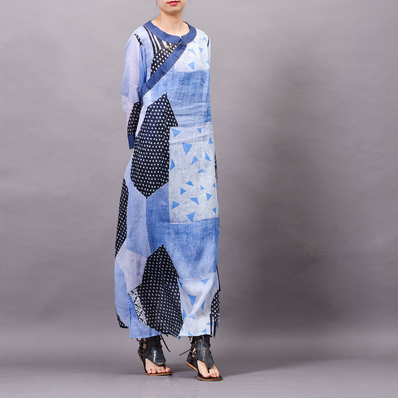 Ramie Women dress Summer cool New arrival Printed Buckle Embroidered speclic button personality vintage elelgant large size Robe - 3