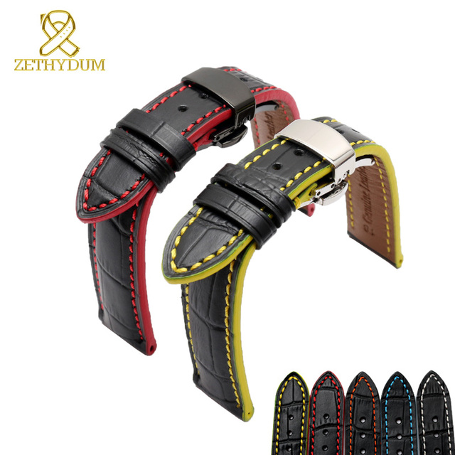ae393b9aa Genuine leather bracelet 18mm 20mm Watchband head layer cowhide Red stitches  Color edge watch strap wristwatches
