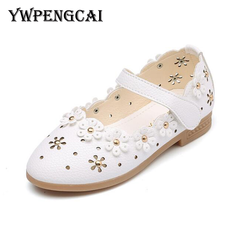Size 21-36 Toddler Children Shes Spring Summer Girls Princess Hollow Flowers Shoes Girls Flat Dress Shoes #7LU0136