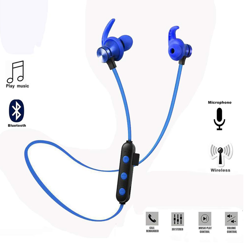 Wireless <font><b>Bluetooth</b></font> <font><b>Earphone</b></font> Magnetic For Iphone XS Max Samsung <font><b>S9</b></font> Waterproof Attraction Headset Build-in Mic Pluggable TF Card image