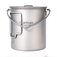 Tiartisan  750ml Pot Outdoor Cookware with Folding Handle and Bail handle Portable Pure Titanium Ultralight tiartisan pure titanium coffee mug 500ml titanium milk cup cookware pot bowl with fixed handle ta8351ti