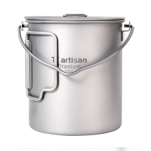 Tiartisan Portable Ultralight pure Titanium Outdoor folding 750ml Pot with Handle and Bail handle tiartisan 900ml pure titanium pot with bail handle outdoor camping ultralight picnic cookware with cover
