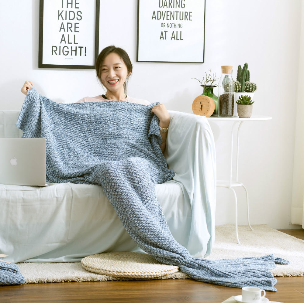 HOT 60x140cm Mermaid Tail Blanket Adult Little Mermaid Blanket Cotton Knit Home Sofa Blankets Birthday Gift