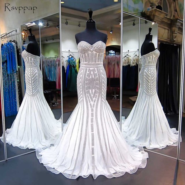 aff7085a2fd Long Sparkly Prom Dresses 2018 Mermaid Sweetheart Heavy Beaded Floor Length  African White Prom Dress