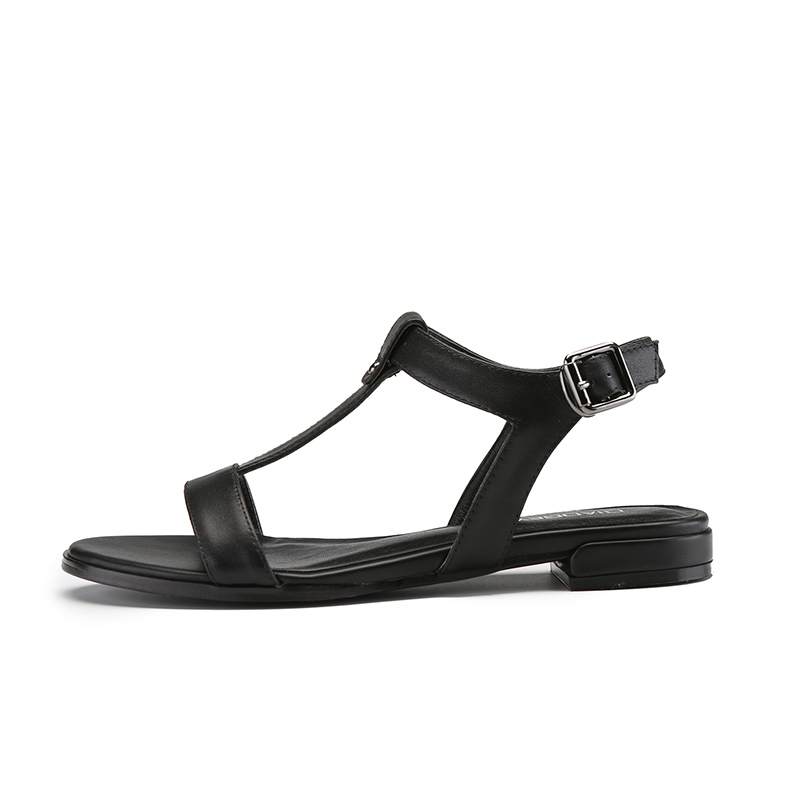 In The Summer of 2018 The New Sandals Women Show Thin Flat-bottomed Leather White Word Peep-toe Roman Comfortable Leisure Shoes the new spring and summer ms south korea ensure their boots comfortable show female water thin antiskid tall canister shoe