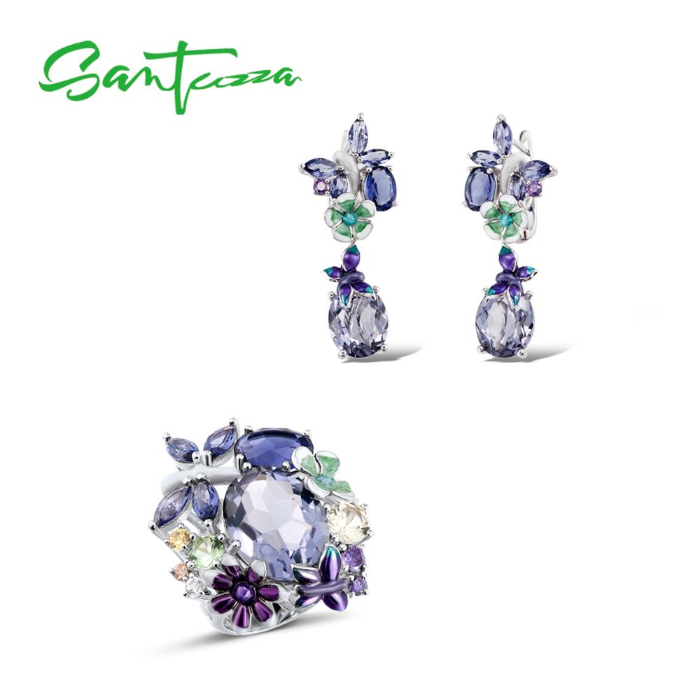 SANTUZZA Silver Jewelry Set For Women 925 Sterling Silver Butterfly Purple Stones Ring Earrings Fashion Jewelry HANDMADE Enamel