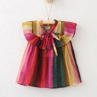 Oklady 2017 New Casual Kids Summer Ruched Dress Girl Bow Strapless Children Vestidos Robe Fille Summer