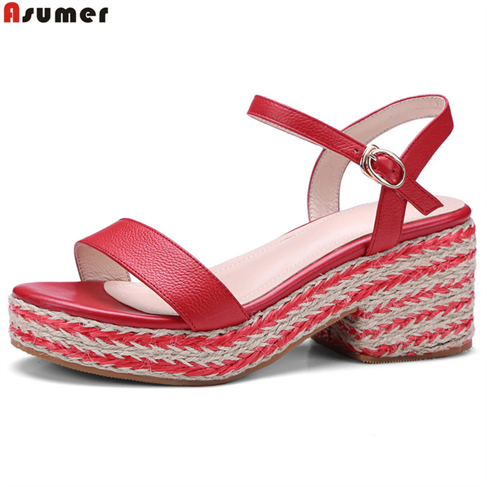 ASUMER apricot red fashion ladies summer shoes buckle square heel casual platform women genuine leather high heels sandals donna in 2018 women genuine leather slipper platform high heels sandals ladies shoes thick heel casual slippers fashion styles