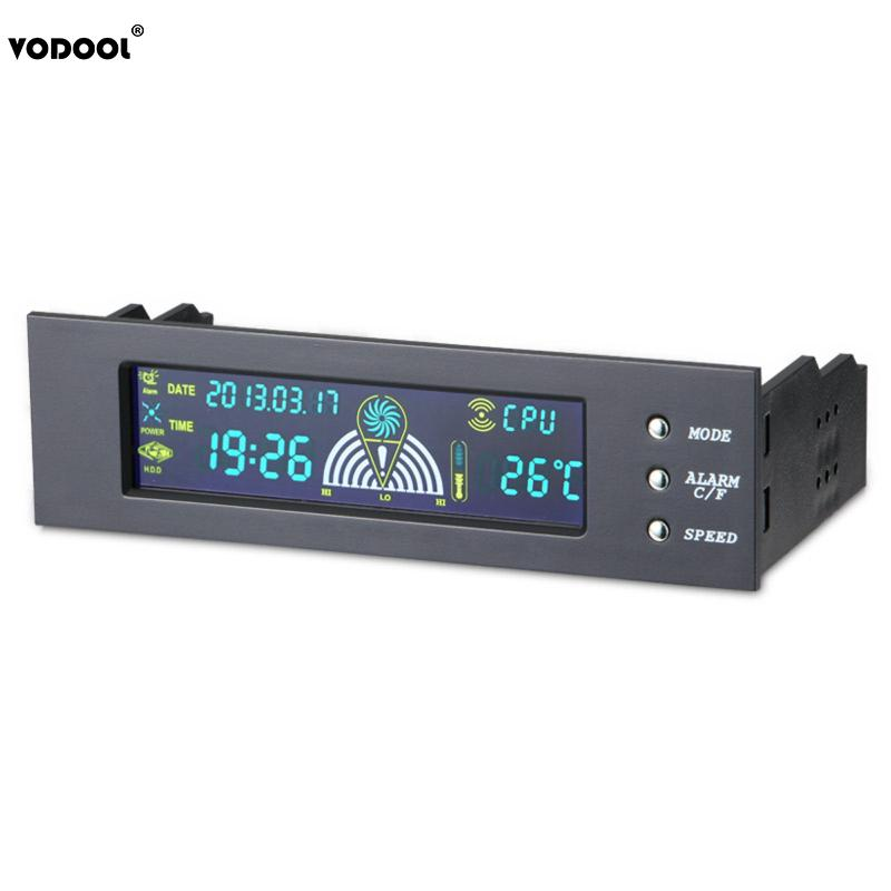 5.25 Bay Front LCD Panel 3 New Fan Speed Controller CPU Temperature Sensor for Desktop Computer Temperature Controller