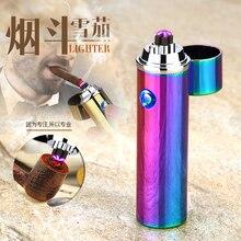 Благородный цилиндр LED ветрозащитный Дым Зажигалка крест двойной дуги легче USB Пульс сигар Зажигалки электронная сигарета трубы зажигалки