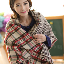 2015 Fashion Women Winter Red Tartan Scarf Wrap Shawl Stole Two Side Plaid Checked double face scarf