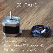 3Pcs 3D Printer Motor Nema 17 Stepper Motor – CE Certificatio 4-lead 42 motor 42BYGH 1.7A