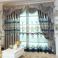 New High Quality Embroidered Luxury Curtains Window For living Room Bedroom Kitchen Tulle Curtains Valance Drapes