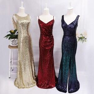Image 5 - גלימת דה Soiree לונג אי פעם די זול בת הים הקטן בורדו אדום סקסי ערב שמלות נצנצים Sparkle בתוספת גודל המפלגה שמלות