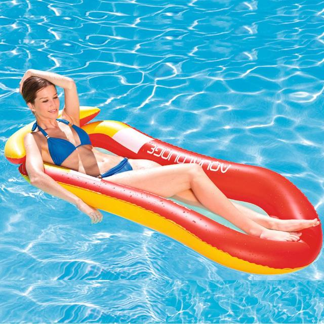 US $19.43 28% OFF|Swimming Pool Recliner Floating Bed Inflatable Air Light  Floating Chair Collapsible Portable Dual use Back Swimming Pool Mat-in Pool  ...