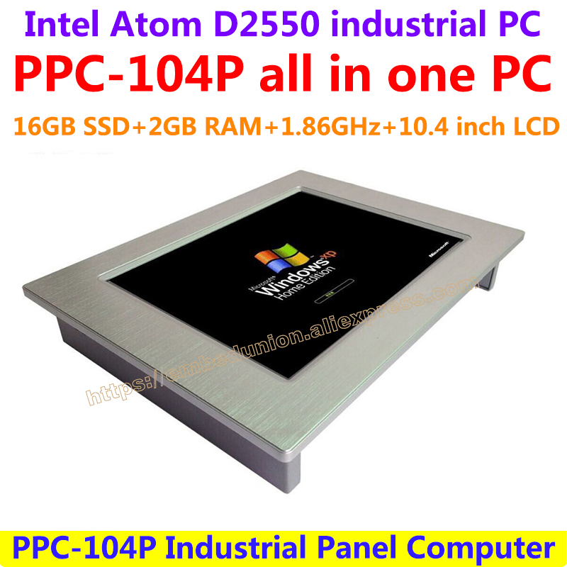 все цены на All In One Computer 10.4inch Intel atom D2550 industrial panel pc with resistance touch screen 16G SSD 2G RAM affordable pc онлайн