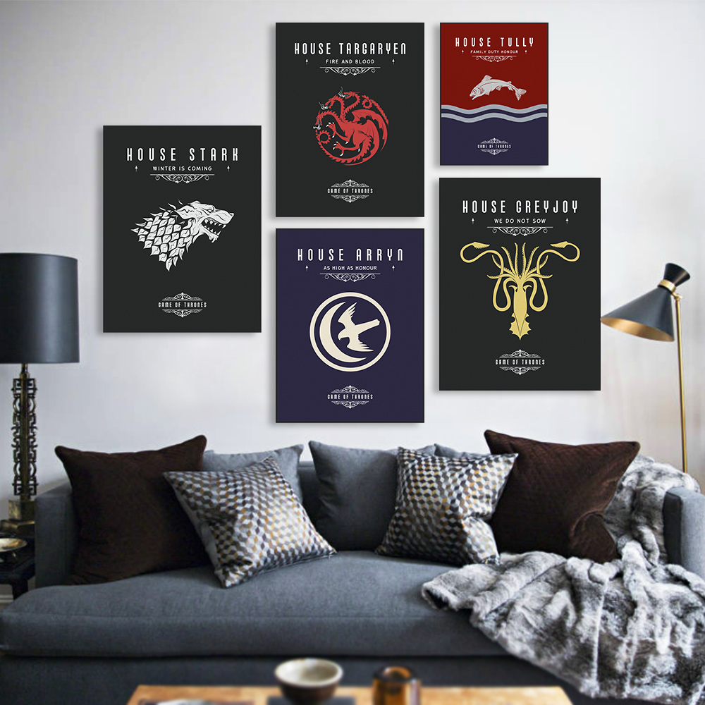 Game Of Thrones House Banners Poster Vintage Wall Art Canvas Prints Living Room Deer Pictures Painting Home