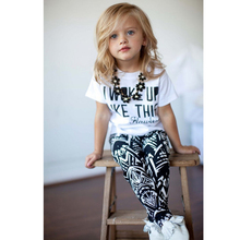 Spring and autumn clothing set children cartoon printed letters long sleeved T T-shirt + striped plaid pants / two piece suit fa