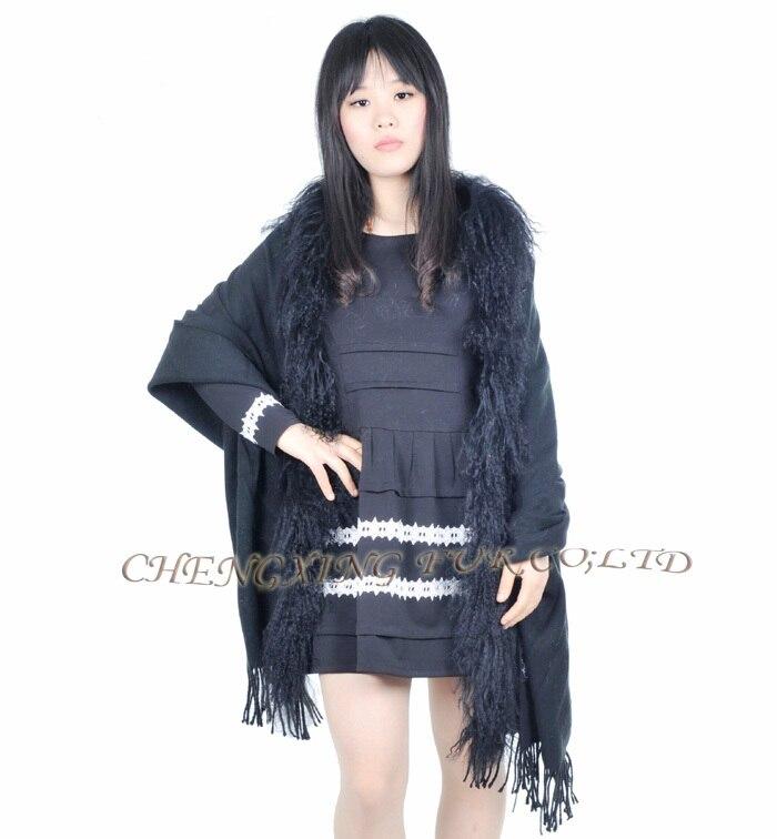 CX-B-P-04C, Женский натуральный мех монгольского ягнёнка, шаль из пашмины с мехом - Цвет: Черный