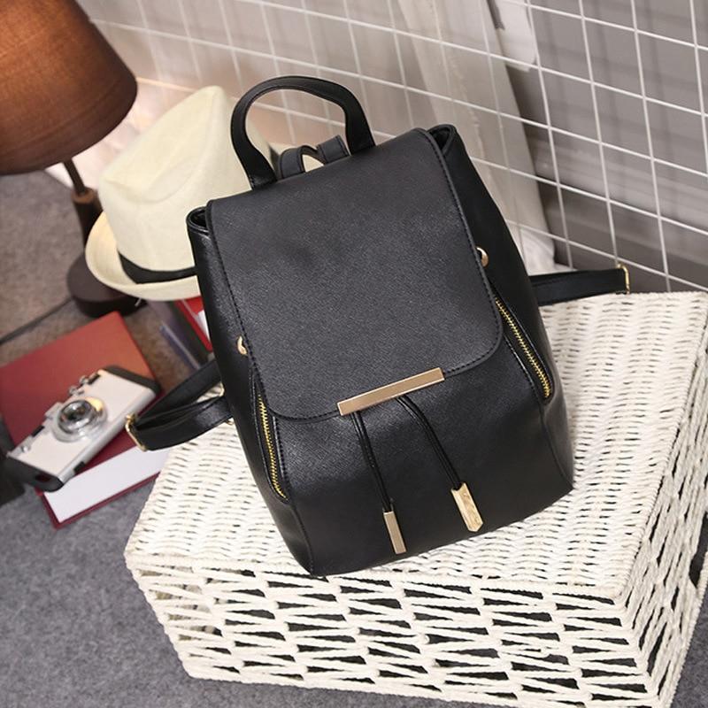 QE77-82 mode femmes sac à dos ensemble noir sac à dos avec petit sac en cuir PU sac d'école pour dames sacs pour femme