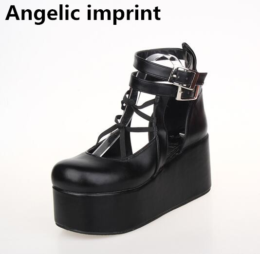 Angelic imprint mori girl lolita shoes woman cosplay shoes lady high trifle heels pumps wedges women