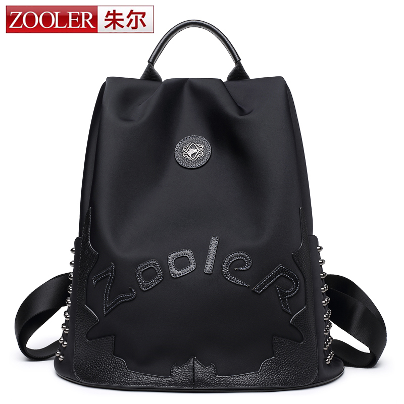 Zooler top Nylon &cowhide backpack luxury backpacks large capacity top quality women bag letter backpacks Bolsas#8395
