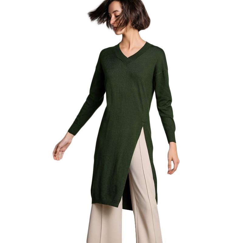 2019 Spring Dress Women's Round Neck Wool Knit Knee length Dress Vertical Line Half O neck Wool Dress Women Long Sweaters Winter