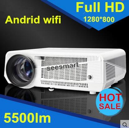 Новый видеопроектор 3D жк-проектор full hd 1080 P из светодиодов 5500 Lumens android-4.2 смарт WiFi 4.2 proyector с из светодиодов Lamp220W