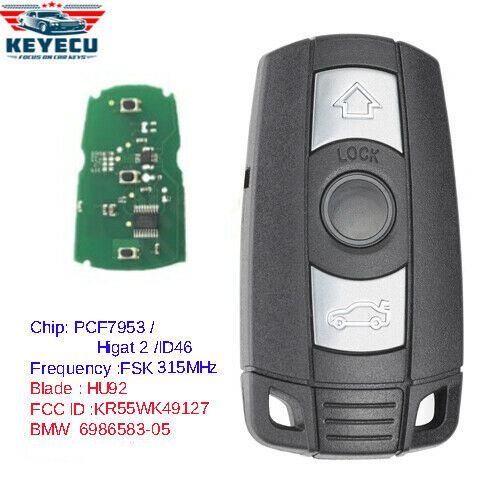 KEYECU Remote Key 3B 315MHz/433MHz/868MHz for BMW 1/3/5/7 Series CAS3 X5 X6 Z4 Car Control Transmitter With Chip ID46 PCF7945