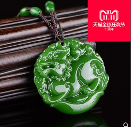 Natural spinach green GEM pendant hetian GEM PI dixiu male and female arts God Men of light real stone jewelry necklace